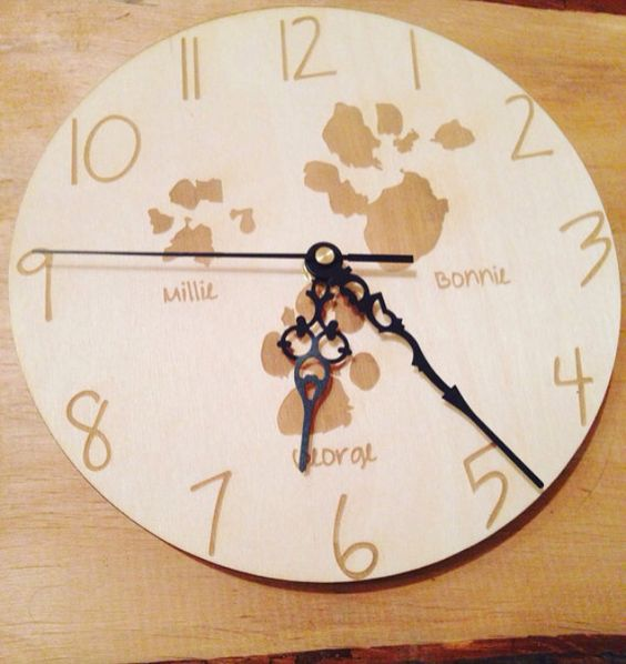 Your pets paw prints on a clock £20 https://www.etsy.com/shop/tinytoescraftcreate1