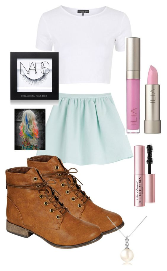 """""""Untitled #23"""" by alexiacastillo ❤ liked on Polyvore featuring Tara Jarmon, Topshop, Breckelle's, Ilia, NARS Cosmetics, Too Faced Cosmetics and Forzieri"""