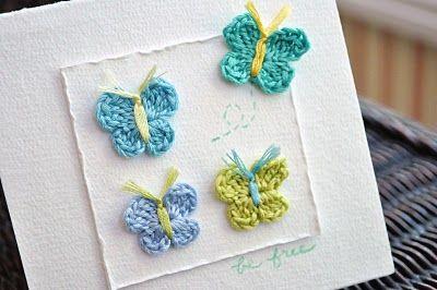 Crochet butterfly pattern from Little Birdie Secrets. I love the idea of using it on a card