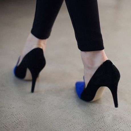 Two-tone Pattern Blue & Black Suede Pointed Toe Pumps