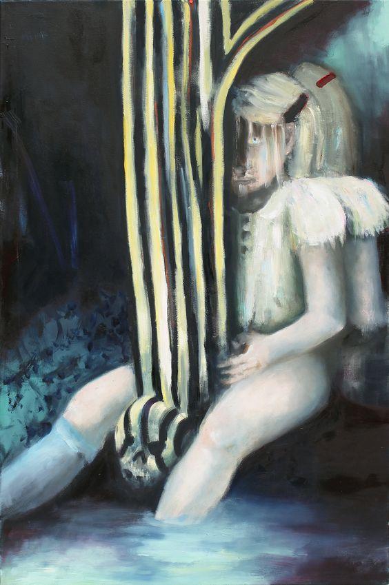 EMELI THEANDER, Dubbelsystrar (Doppelschwestern), 2013, Öl auf Leinwand, 105 x 70 cm