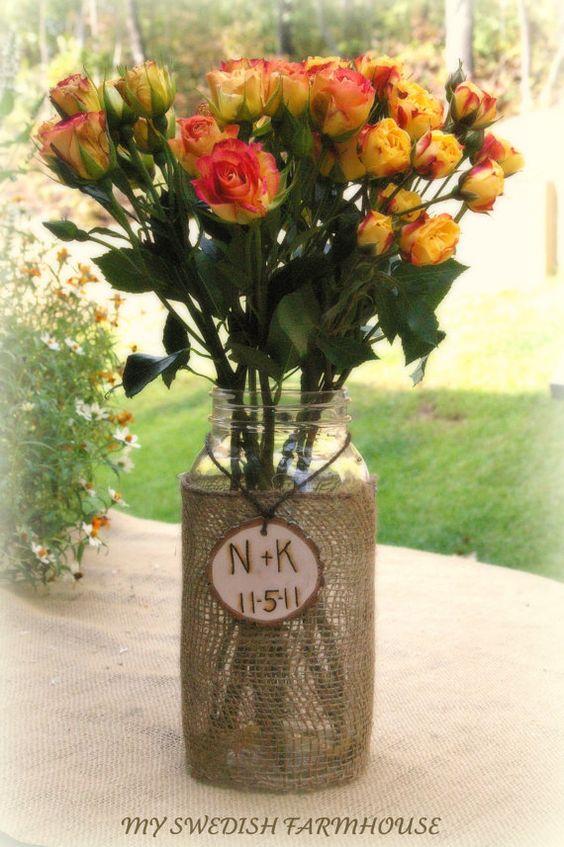 Large mason jar vase table centerpiece burlap lace