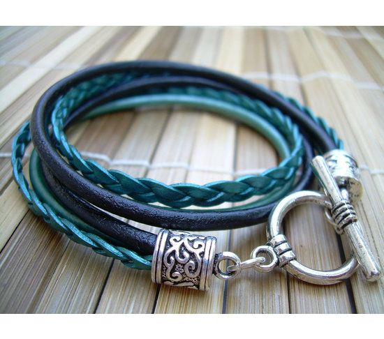 Womens  Leather Bracelet , Toggle Closure,  Metallic Teal and Black, Double Wrap,, $21.99