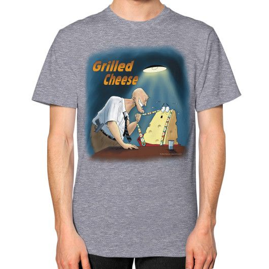"WordPlay ""Grilled Cheese"" Unisex T-Shirt (on man) designed by Neal Fox & Ron Kule"