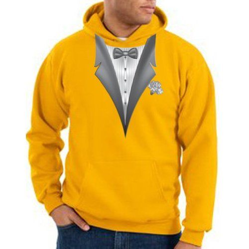 TUXEDO with WHITE FLOWER Tux Adult Pullover Hooded Sweatshirt Hoodie - Gold