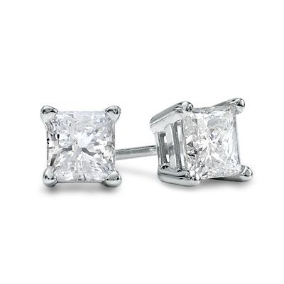 1 CT. T.W. Princess-Cut Diamond Solitaire Stud Earrings in 14K White Gold I LOVE these....wait i think i have em.....hahahaahahahah