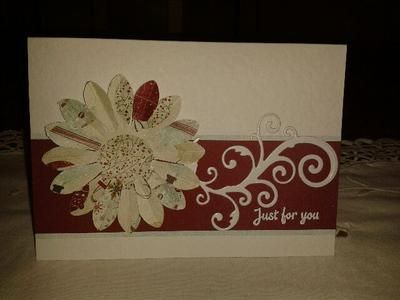 I decided to use some old stuff for a change!  I started with a hammered A6 card and I used a large flower punch which I've had for years and, believe