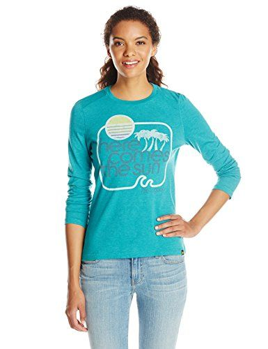 Life is good Womens Long Sleeve Cool Here Comes The Sun TShirt Teal Blue Large -- Be sure to check out this awesome product.