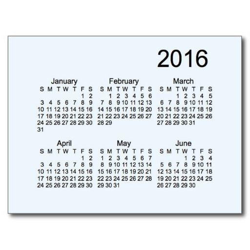 2016 Rainbow Mini 6 Month Calendar by Janz Postcard RYB