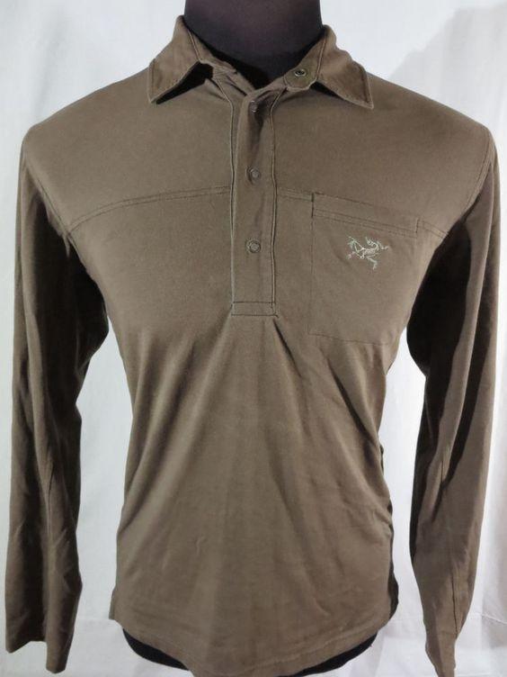 Arcteryx Long Sleeve Polo Shirt Mens Large Brown Arcteryx
