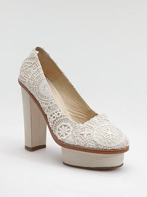 Opening Ceremony, Crocheted Platform Pumps—I don't really think this will make a good wedding shoe but I do love them... $515
