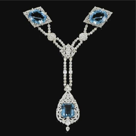 Fine and Important Aquamarine and diamond corsage ornament, Cartier, 1912