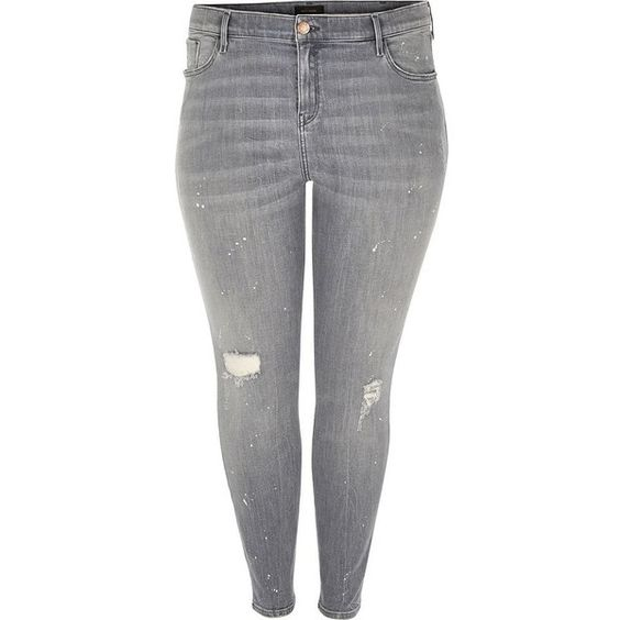 River Island RI Plus grey wash Amelie super skinny jeans ($84) ❤ liked on Polyvore featuring jeans, plus size ripped jeans, plus size distressed skinny jeans, super skinny jeans, torn skinny jeans and distressed skinny jeans