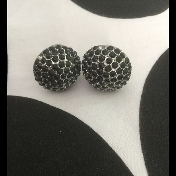 CLOSING 9/30 Black Crystal Earrings Dome shape black crystal earrings. One is missing a crystal and the other is missing two. Because the missing crystals are on the outer edge, they cannot be seen when worn. Very cool earrings. Jewelry Earrings