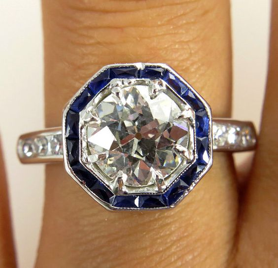 Art Deco ...2.76ct Estate Vintage Platinum Old European Cut Diamond Solitaire Engagement Ring with Sapphires. WOW! so beautiful