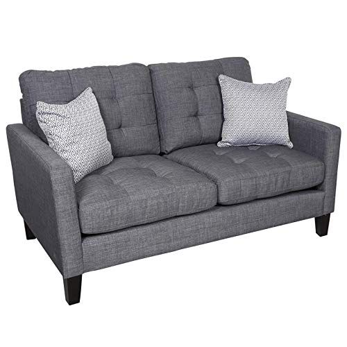 Hawthorne Collections Draper Contemporary Slim Lines Loveseat Gray Contemporary Loveseat Love Seat Contemporary