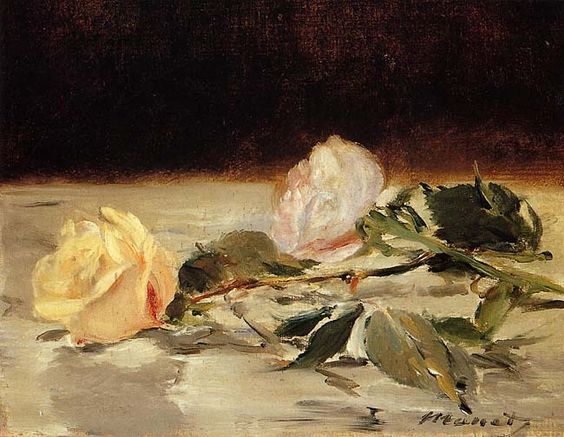 Two Roses on a Tablecloth, Edouard Manet.: