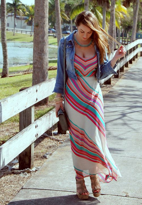 Spring look with denim jacket and maxi dress | Inspiration ...