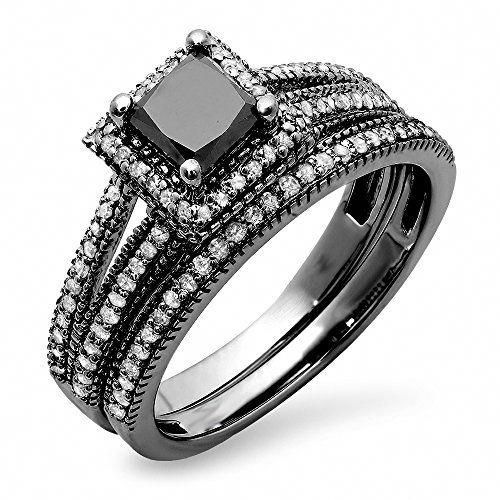 1 35 Carat Ctw Black Rhodium Plated 14k White Gold Princess Round Diamond Hal Black Diamond Ring Engagement Black Diamond Wedding Rings Black Wedding Rings