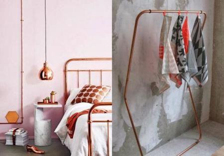 combina el color cobre con el rosa