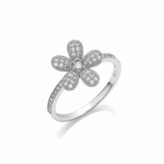 This floral 925 sterling silver ring is truly eye-catching. Adorned with the most intricate micro-pave detailing and a beautiful simulated diamond centre, this ring is sure to dazzle and delight.