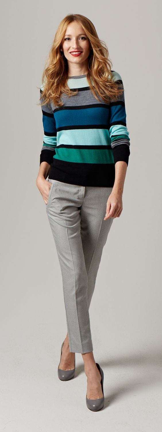 Colorful Stripe Sweater - Bright stripes have a friendly look that pairs with everything from jeans to dress pants!