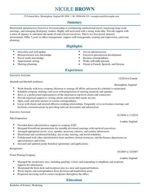 Executive Assistant Cv Template Cv Samples Examples Cv Template Cv Template Uk Resume Template Examples