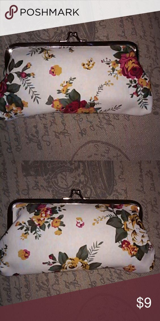 """Lovely Flower Coin Purse Lovely coin purse flower design, white multicolor. Measures approximately 7"""" long and 4"""" high. Bags Clutches & Wristlets"""