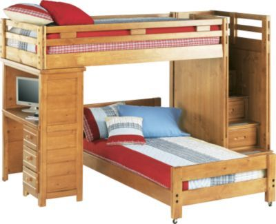 Shop For A Creekside Taffy Twin Twin Step Bunk Bed W Desk