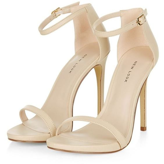 Cream Leather Ankle Strap Heels (169.150 COP) ❤ liked on Polyvore