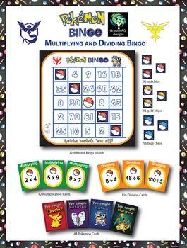 Pokemon Go Multiplication & Division Bingo Game (2 math skills in ...