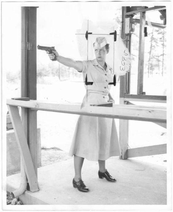PFC Nancy A. Abracham, Firing Pistol 1