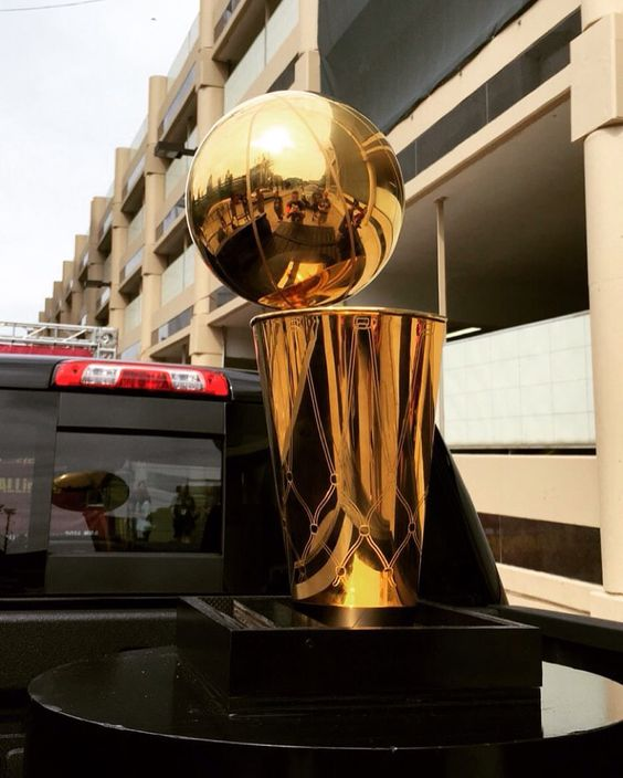 2016 Cleveland Cavaliers NBA Championship Trophy during the Championship Parade in downtown Cleveland Ohio