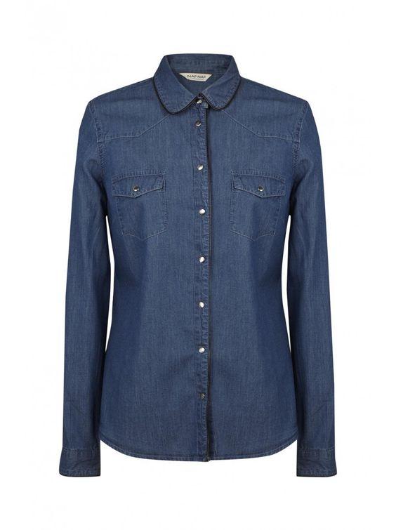 Naf naf nouvelle co h15 chemise jean boutons à pression stone 1
