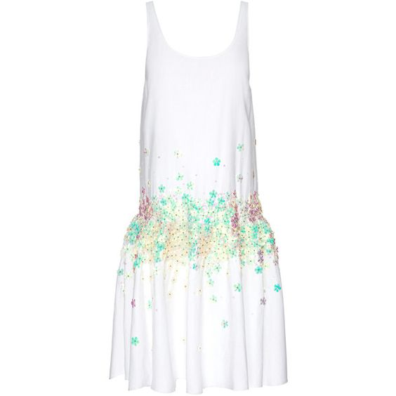 Suno Tank Ruffled Hem Dress (700 CAD) ❤ liked on Polyvore featuring dresses, floral dress, white sequin mini skirt, white mini skirt, sequin dress and sequin mini skirt