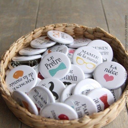 badges mariage and cadeaux des clients on pinterest. Black Bedroom Furniture Sets. Home Design Ideas