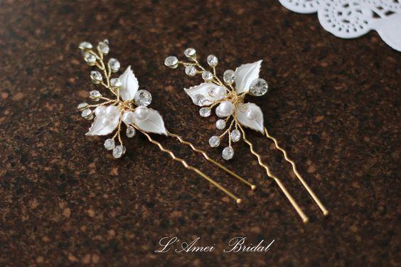 Small Handmade Golden Leaves Hair Pin,Flower Bridal Hair Pins, Wedding Hair Pins, by LAmei on Etsy