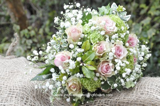 Roses and gypsophilia bouquet. www.inspirationweddingflowers.com