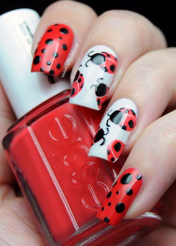 Cute Nails. Fashion. Nail Art. Nails Art. Nail Polish. Nail Design. Style. Red, Essie, Animals. Ladybird. Joaninha. #nailart #nails #mani