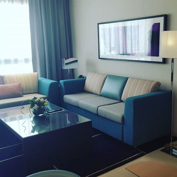 Separate living area in our suites - so that you feel at home while staying #inAbuDhabi  #myabudhabi #abudhabi #adnec #capcentrearjaan #hotelroom #holiday #rotanahotel #instaabudhabi #uae #hotel #design #interrior #style