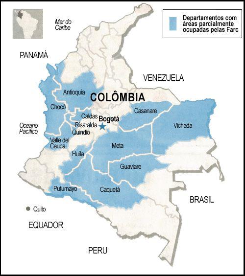 Áreas parcialmente ocupadas pelas FARC