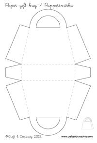 Blank paper gift bag template from Craft And Creativity. Enlarge if you want bigger bags.
