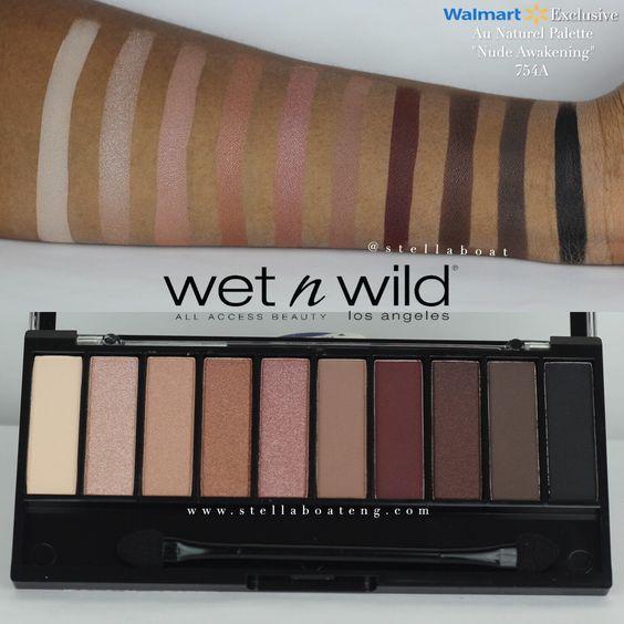 """Wet n' Wild   Au Naturel Palette in """"Nude Awakening"""" Swatches on Dark Skin"""