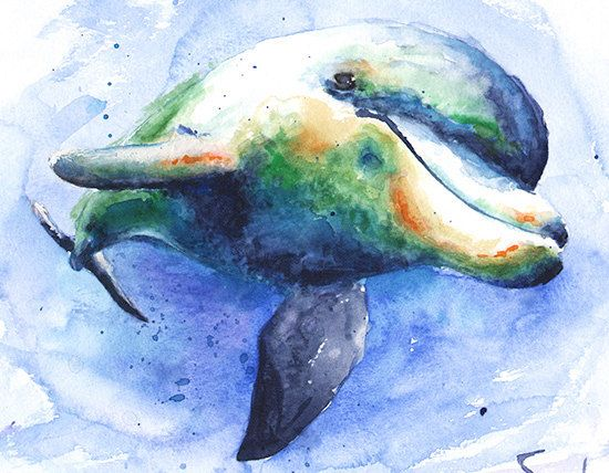 Dolphin painting dolphin watercolor dolphin decor dolphin wall art