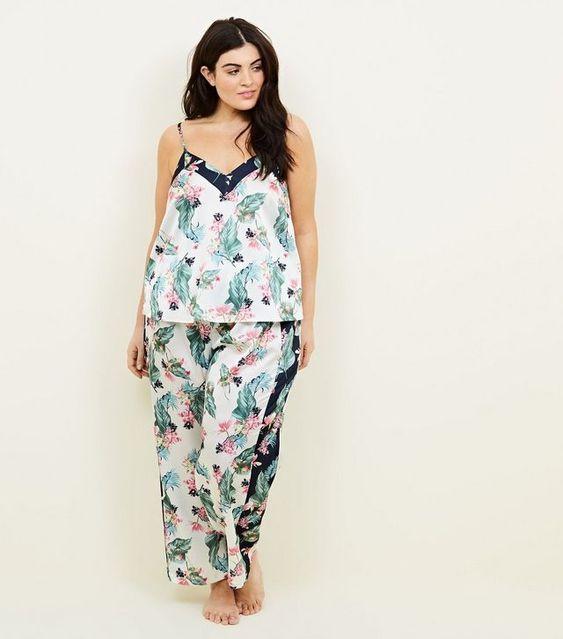 Soraya Curves - Pantalon de pyjama blanc cassé à imprimé fleurs et feuilles | New Look