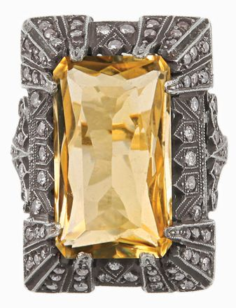 Oxidized sterling Art Deco citrine and diamond ring, circa 1920
