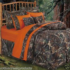 Oak Camo Queen Comforter Set Bed Bedding Bedroom Hunting Orange Camouflage New