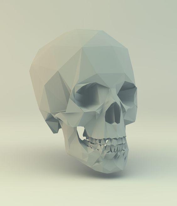 Ettore Tortora / Low Poly Skull #3D #render #lowpoly