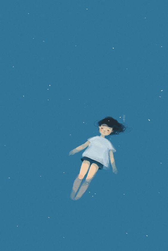Menina mergulhada no espaço.