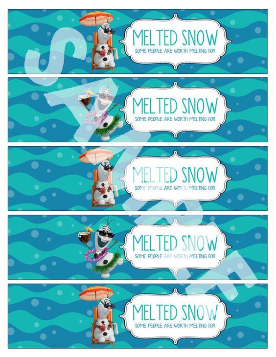 "Frozen Printable Water bottle labels ""Melted Snow"" DIY ..."